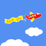 Cartoon red plane.  Ribbon with words Love you. Ca Royalty Free Stock Photography