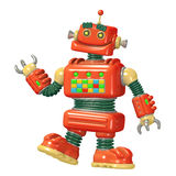 Cartoon red robot 3D illustration Royalty Free Stock Photography