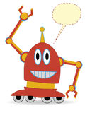 Cartoon Red Robot Waving blank chat bubble Stock Photography