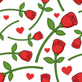 Cartoon Red Rose Seamless Pattern Stock Photo