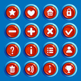 Cartoon red round buttons. Set of Cartoon red round buttons with web icons,  vector elements. Gui elements, vector isolated games assets.menu set for mobile Stock Photos