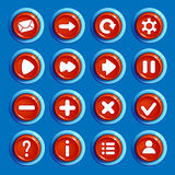 Cartoon red round buttons with web icons. Set of Cartoon red round buttons with web icons,  vector elements. Gui elements, vector isolated games assets.menu set Stock Photo