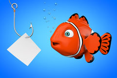 Cartoon Red Sea Clownfish Looking on a Fishhook with Blank Paper. On a blue background. 3d Rendering Royalty Free Stock Photos