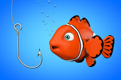 Cartoon Red Sea Clownfish Looking on a Fishhook. 3d Rendering. Cartoon Red Sea Clownfish Looking on a Fishhook on a blue background. 3d Rendering Stock Photography
