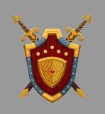 Cartoon red shield. Vector illustration Royalty Free Stock Photos