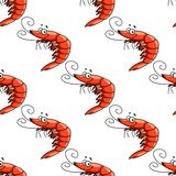 Cartoon red shrimps seamless pattern Royalty Free Stock Photography
