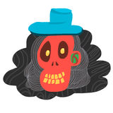 Cartoon red skull and blue hat Royalty Free Stock Photography