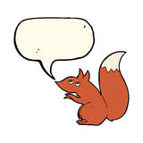 cartoon red squirrel with speech bubble Stock Photo