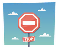 Cartoon red stop sign. Vector objects in flat cartoon style Stock Photos