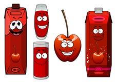 Cartoon red sweet cherry juice and fruit Stock Photos