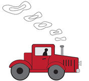 Cartoon red tractor Royalty Free Stock Image