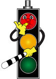 Cartoon red traffic light Royalty Free Stock Photography