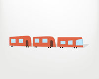 Cartoon red train. Cartoon simple red train. Flat vector illustration Royalty Free Stock Photos