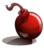 Cartoon Red Unlit Bomb with a Fuse. Stock Photos