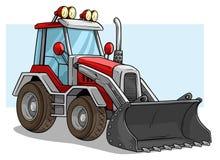 Cartoon wheel front loader bulldozer with shovel stock illustration
