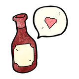 Cartoon red wine bottle with love heart Stock Photos