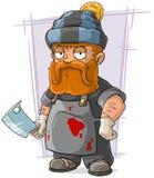 Cartoon redhead butcher in cap Royalty Free Stock Photo