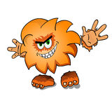 Cartoon redheaded monster smiles. Isolated on white background. Stock Photo