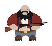 Cartoon redneck in red shirt with shotgun. No. Fat bald round redneck in red shirt with suspenders, jeans, and big boots. Holding shotgun. Black beard. Color no Royalty Free Stock Photos