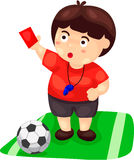 Cartoon referee with football Stock Image