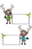 Cartoon Reindeer - Blank Board Royalty Free Stock Image