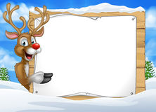 Cartoon Reindeer Christmas Sign Background Royalty Free Stock Photo