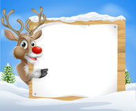 Cartoon reindeer Christmas Sign Royalty Free Stock Photography
