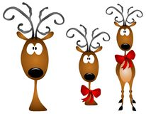Cartoon Reindeer Clip Art. A clip art illustration with your choice of 3 similar reindeer clip art characters - plain head, head with bow, or full body with bow royalty free illustration
