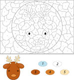 Cartoon reindeer. Color by number educational game for kids Stock Photo