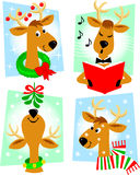 Cartoon Reindeer/eps. Cute retro cartoon reindeer in a variety of Christmas/holiday poses Stock Images
