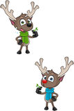 Cartoon Reindeer - Holding Mistletoe Royalty Free Stock Images