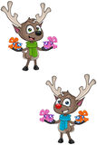 Cartoon Reindeer - Holding Presents Royalty Free Stock Images