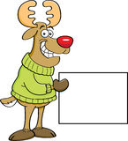 Cartoon reindeer holding a sign. Royalty Free Stock Photo