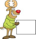 Cartoon reindeer holding a sign. royalty free illustration