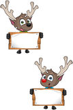Cartoon Reindeer - Holding Wooden Sign Stock Photography