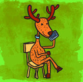 Cartoon reindeer illustration , vector icon Royalty Free Stock Photo