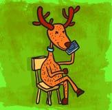 Cartoon reindeer illustration , vector icon Royalty Free Stock Photo