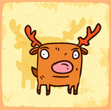 Cartoon reindeer illustration , vector icon Royalty Free Stock Photos