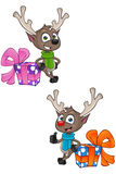 Cartoon Reindeer - Leaning On Present Stock Photos