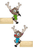 Cartoon Reindeer - Leaning On Wooden Sign Royalty Free Stock Photography