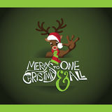 Cartoon reindeer merry christmas card Royalty Free Stock Photos