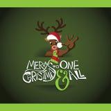 Cartoon reindeer merry christmas card Royalty Free Stock Photos