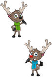 Cartoon Reindeer - Presenting Royalty Free Stock Photo