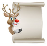 Cartoon reindeer scroll sign Stock Photography