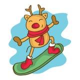 Cartoon reindeer on snowboard Christmas. Vector art Stock Image
