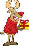 Cartoon reindeer wearing a sweater and holding a gift. Stock Image