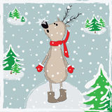 Cartoon reindeer in winter forest. Christmas postcard background. Vector illustration Vector Illustration