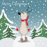 Cartoon reindeer in winter forest Stock Photography