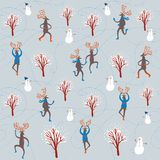 Cartoon reindeers seamless pattern. Vector seamless background with lovely cartoon reindeer on  winter background with snowman and trees Royalty Free Stock Photography
