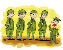 Cartoon related with military man Stock Image